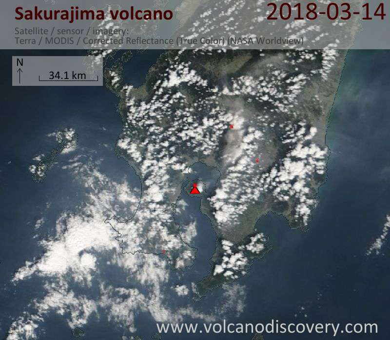 Satellite image of Sakurajima volcano on 14 Mar 2018