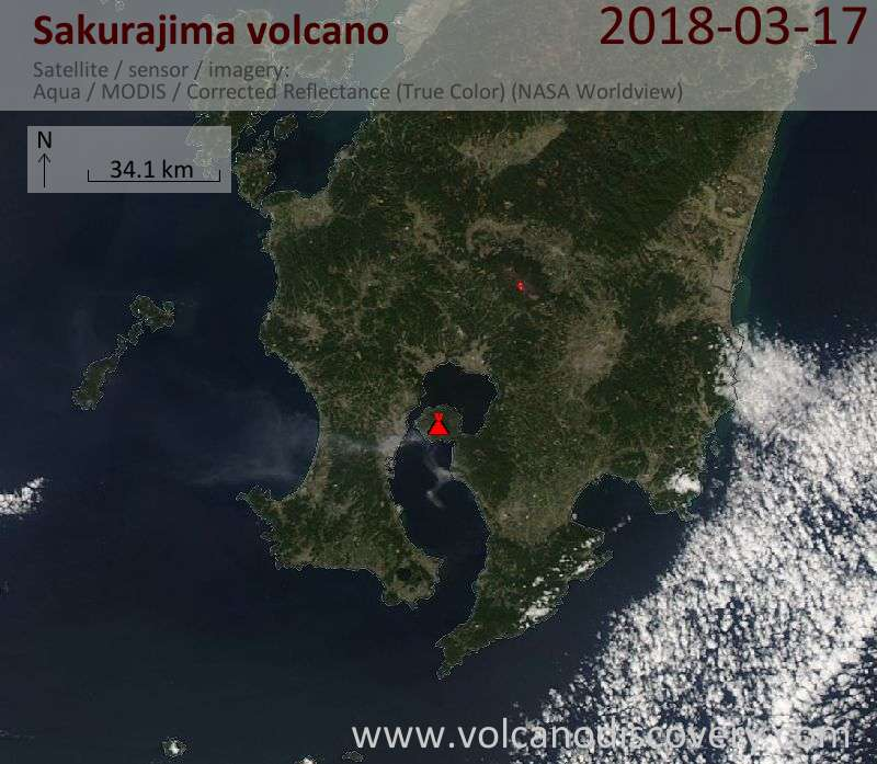 Satellite image of Sakurajima volcano on 17 Mar 2018