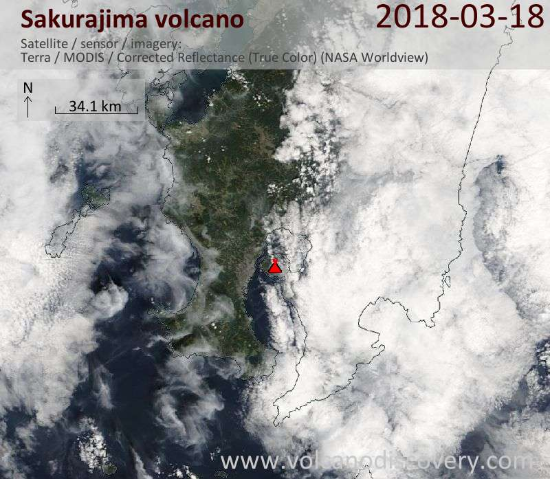 Satellite image of Sakurajima volcano on 18 Mar 2018