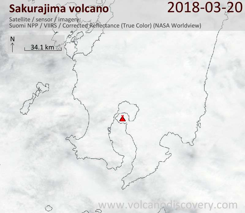 Satellite image of Sakurajima volcano on 20 Mar 2018