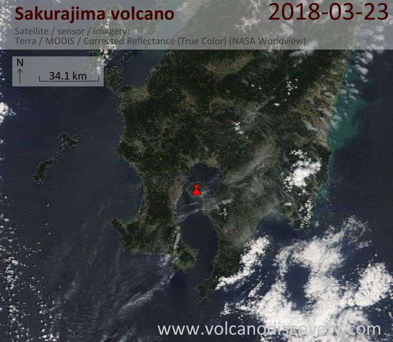 Satellite image of Sakurajima volcano on 23 Mar 2018