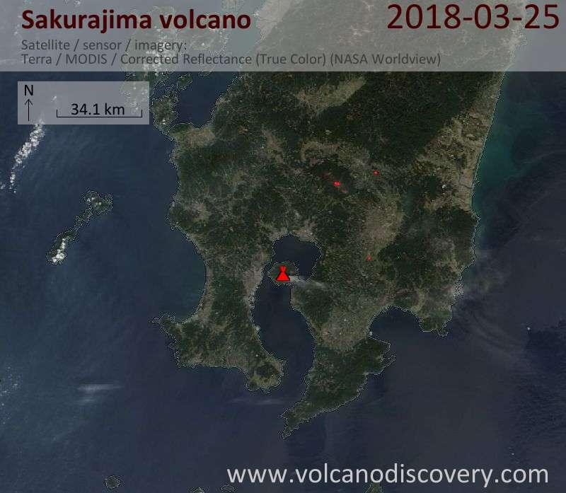 Satellite image of Sakurajima volcano on 25 Mar 2018
