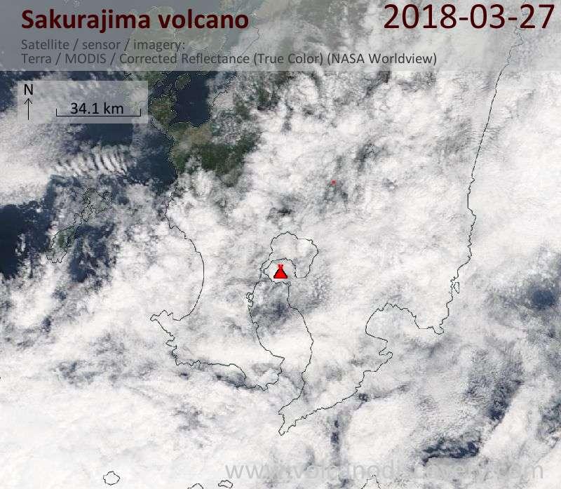 Satellite image of Sakurajima volcano on 27 Mar 2018