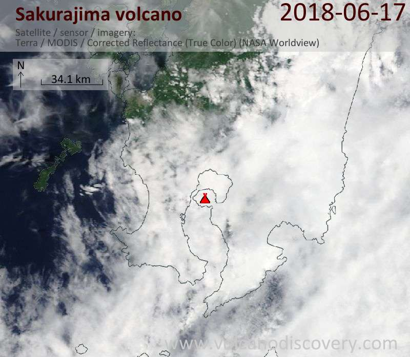 Satellite image of Sakurajima volcano on 17 Jun 2018