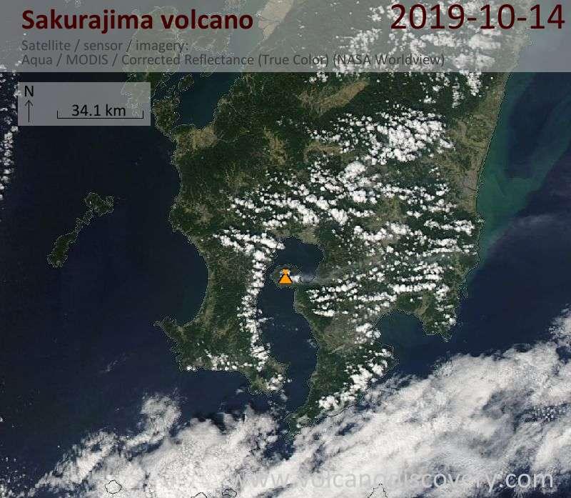 Satellite image of Sakurajima volcano on 15 Oct 2019