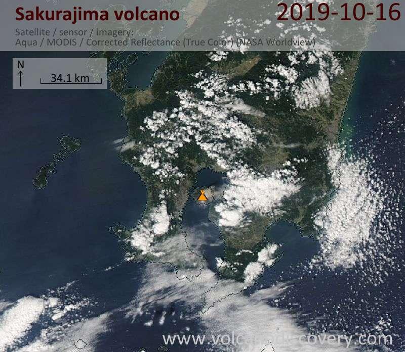 Satellite image of Sakurajima volcano on 16 Oct 2019