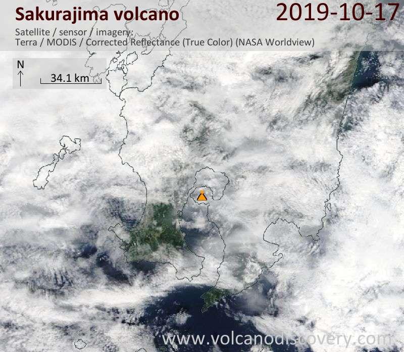 Satellite image of Sakurajima volcano on 17 Oct 2019