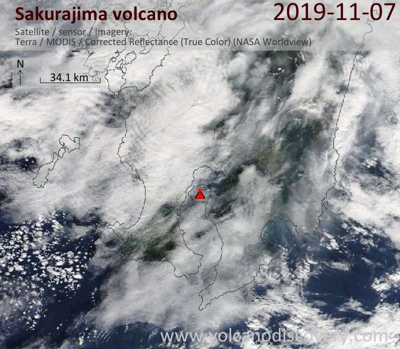 Satellite image of Sakurajima volcano on  7 Nov 2019