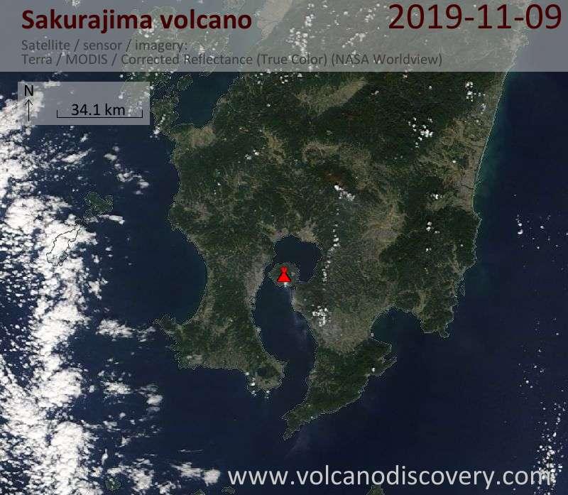 Satellite image of Sakurajima volcano on  9 Nov 2019
