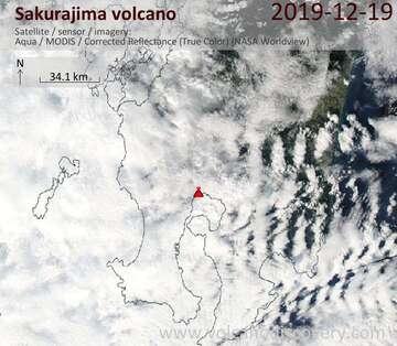 Satellite image of Sakurajima volcano on 19 Dec 2019