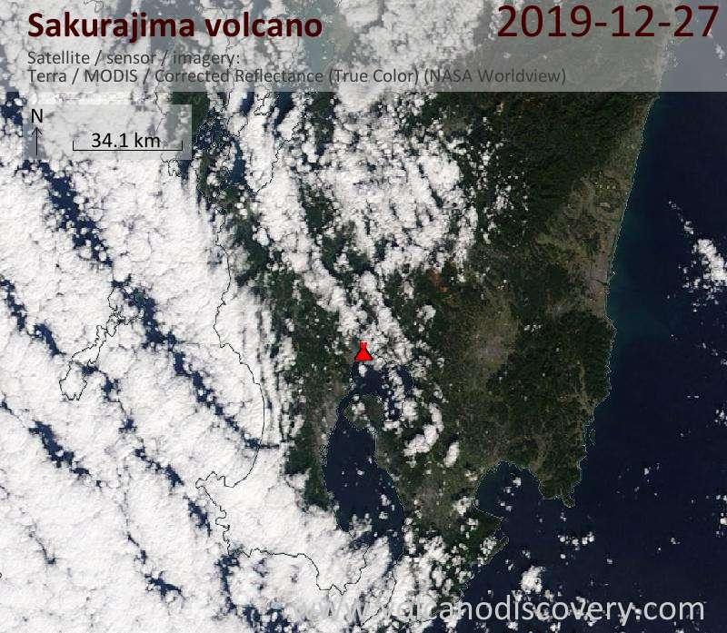 Satellite image of Sakurajima volcano on 27 Dec 2019