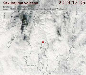 Satellite image of Sakurajima volcano on  5 Dec 2019