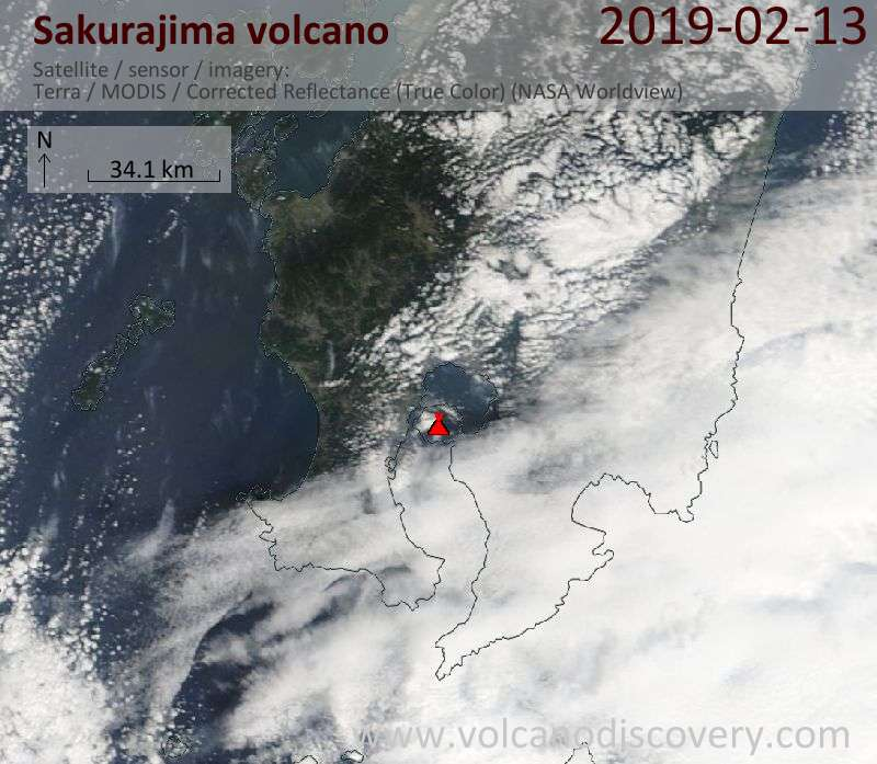 Satellite image of Sakurajima volcano on 13 Feb 2019