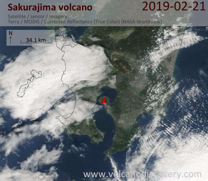 Satellite image of Sakurajima volcano on 21 Feb 2019