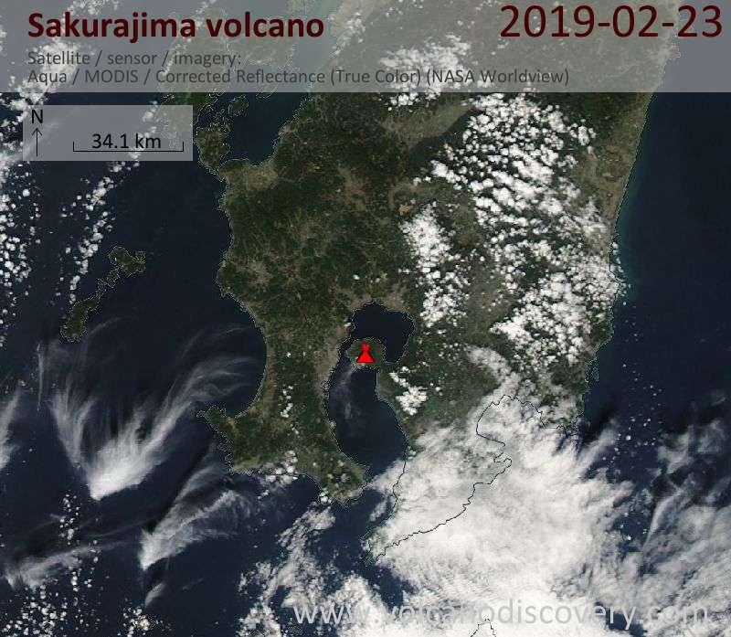 Satellite image of Sakurajima volcano on 23 Feb 2019