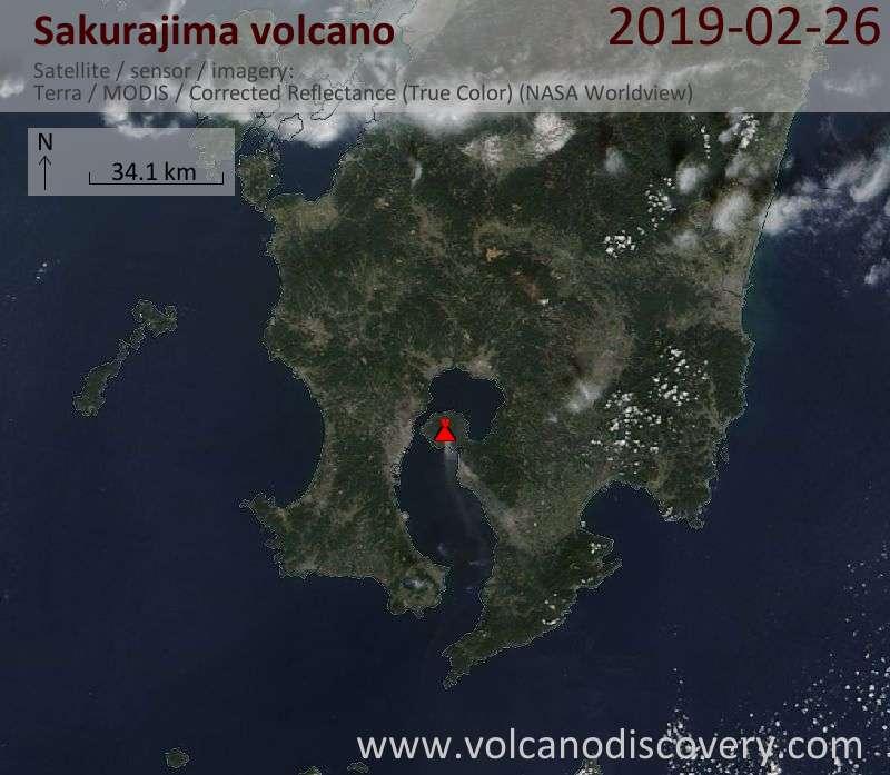 Satellite image of Sakurajima volcano on 26 Feb 2019