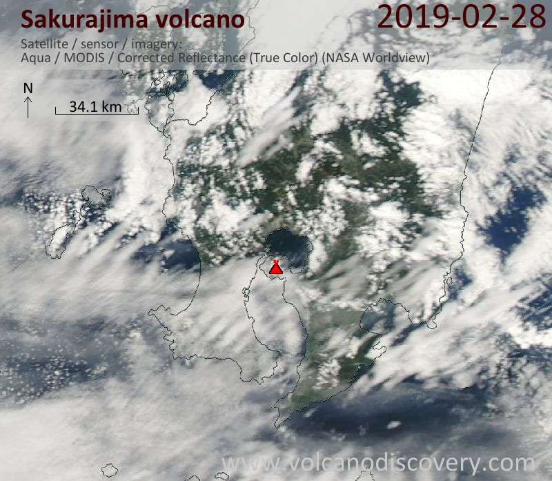 Satellite image of Sakurajima volcano on 28 Feb 2019