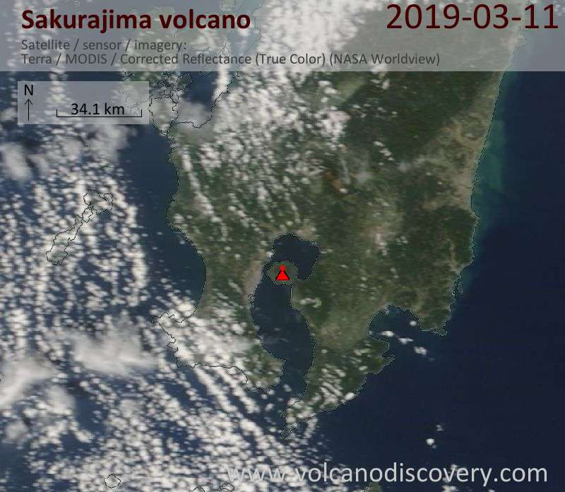 Satellite image of Sakurajima volcano on 11 Mar 2019