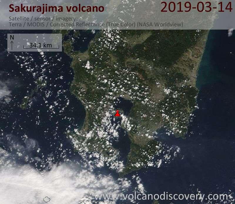 Satellite image of Sakurajima volcano on 14 Mar 2019