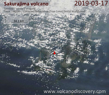 Satellite image of Sakurajima volcano on 17 Mar 2019