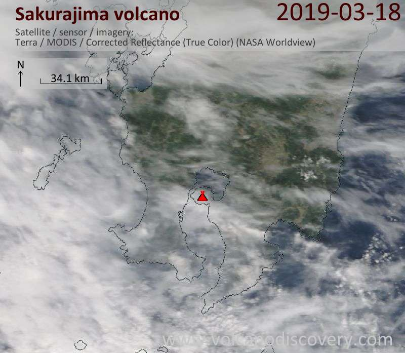 Satellite image of Sakurajima volcano on 18 Mar 2019