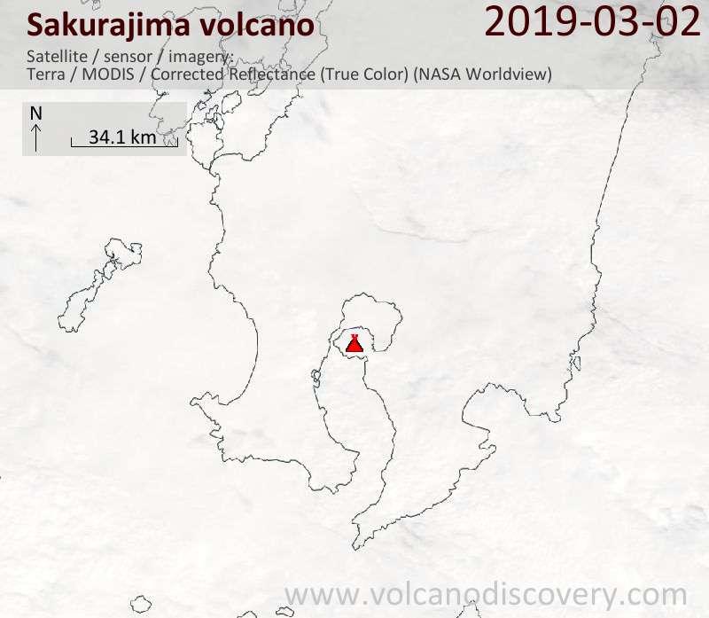 Satellite image of Sakurajima volcano on  2 Mar 2019