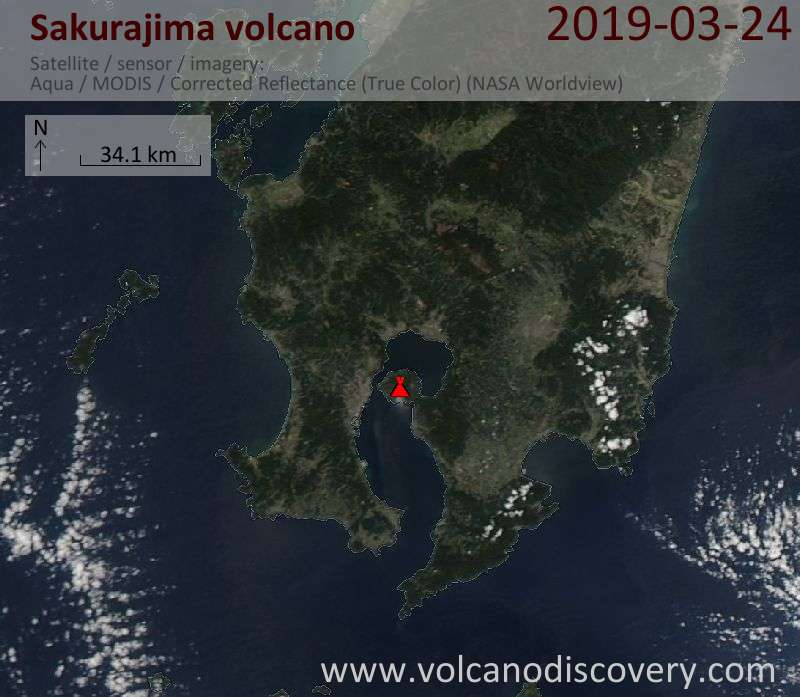 Satellite image of Sakurajima volcano on 25 Mar 2019