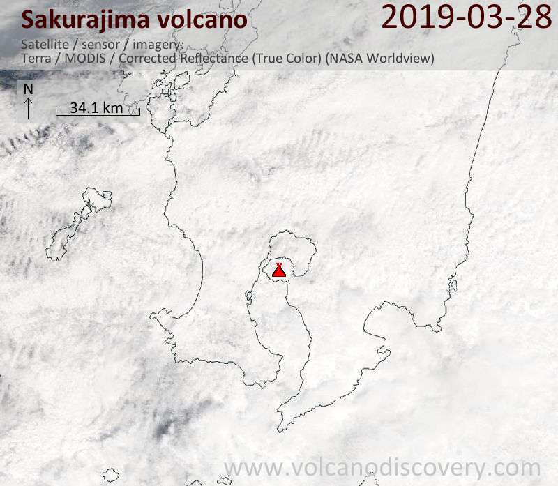 Satellite image of Sakurajima volcano on 28 Mar 2019