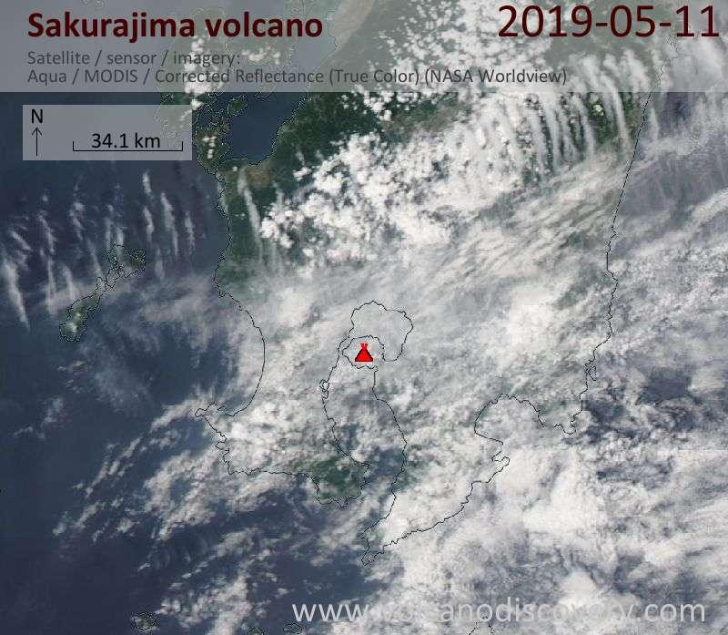 Satellite image of Sakurajima volcano on 11 May 2019