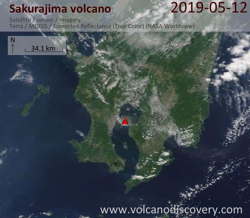 Satellite image of Sakurajima volcano on 12 May 2019