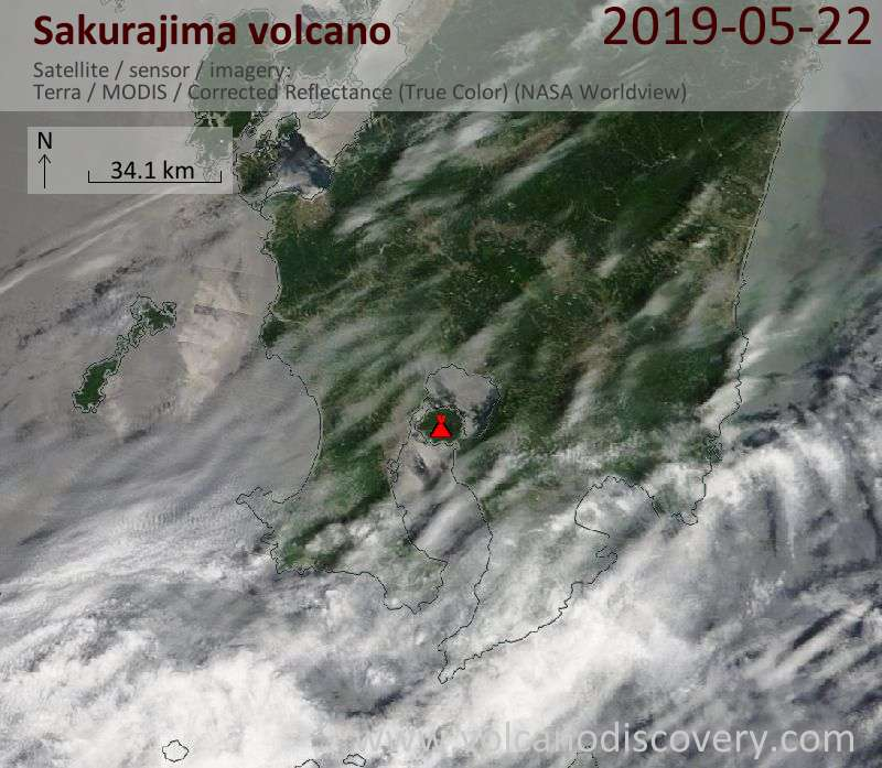 Satellite image of Sakurajima volcano on 22 May 2019