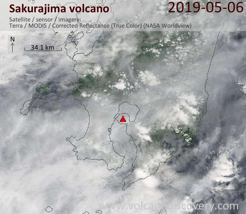 Satellite image of Sakurajima volcano on  6 May 2019