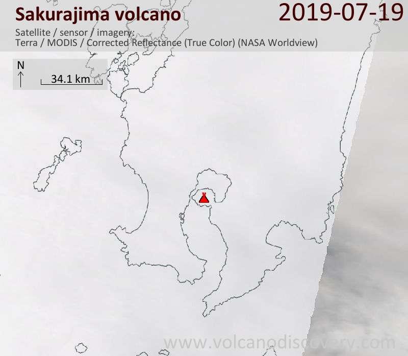 Satellitenbild des Sakurajima Vulkans am 19 Jul 2019