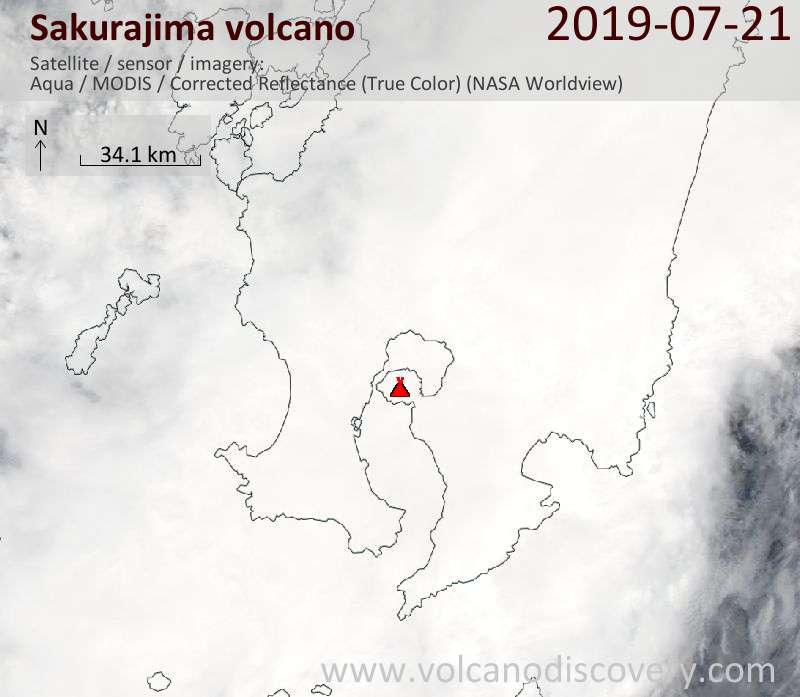 Спутниковое изображение вулкана Sakurajima 22 Jul 2019