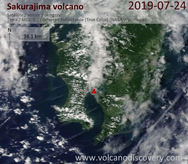 Satellite image of Sakurajima volcano on 24 Jul 2019