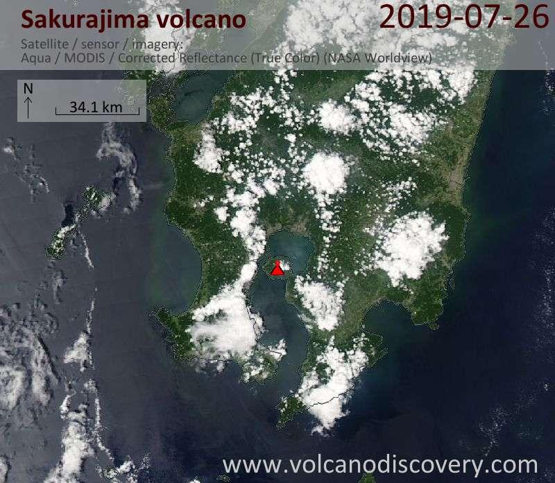 Спутниковое изображение вулкана Sakurajima 26 Jul 2019