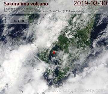Satellite image of Sakurajima volcano on 30 Aug 2019
