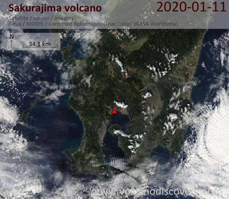 Satellite image of Sakurajima volcano on 11 Jan 2020