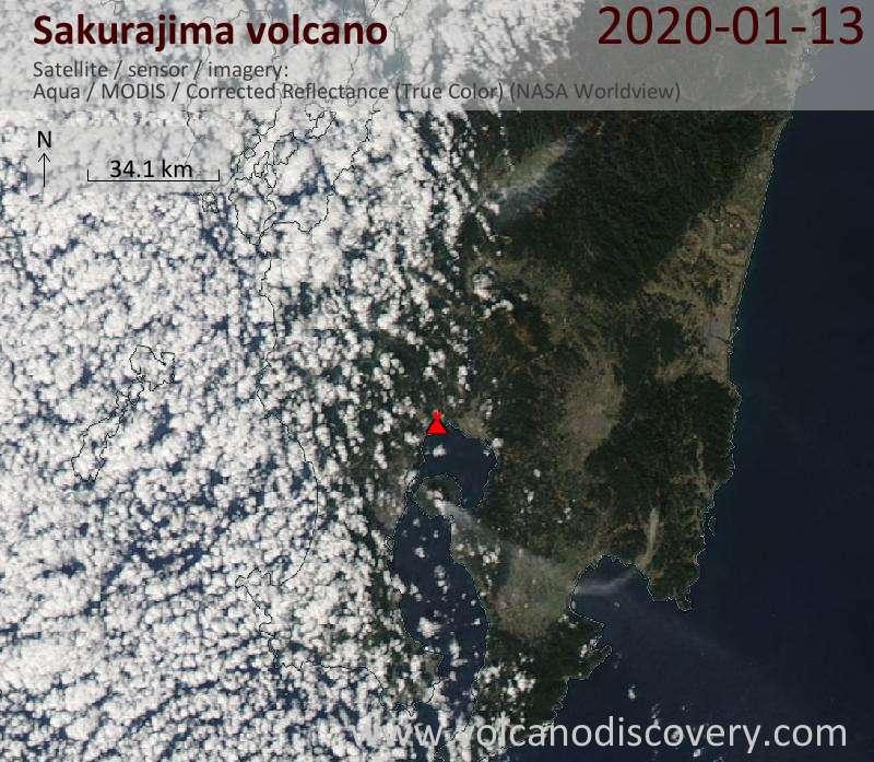 Satellite image of Sakurajima volcano on 13 Jan 2020