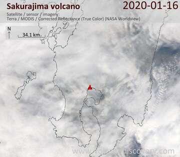 Satellite image of Sakurajima volcano on 16 Jan 2020