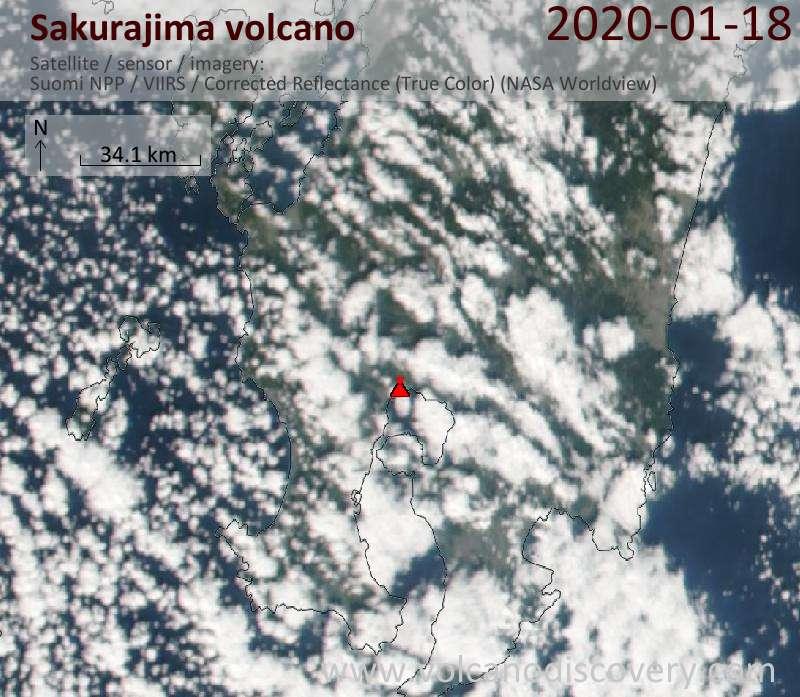 Satellitenbild des Sakurajima Vulkans am 19 Jan 2020