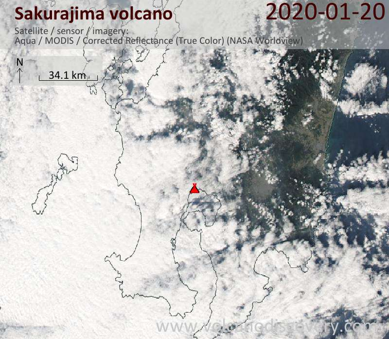 Satellitenbild des Sakurajima Vulkans am 20 Jan 2020