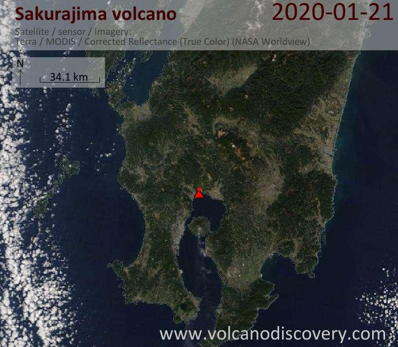 Satellitenbild des Sakurajima Vulkans am 21 Jan 2020