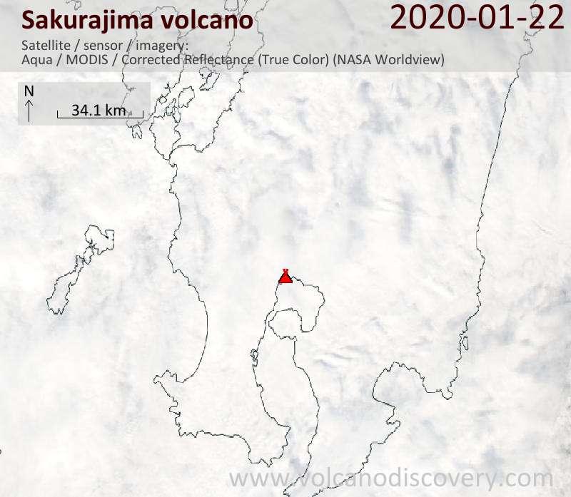 Satellite image of Sakurajima volcano on 22 Jan 2020
