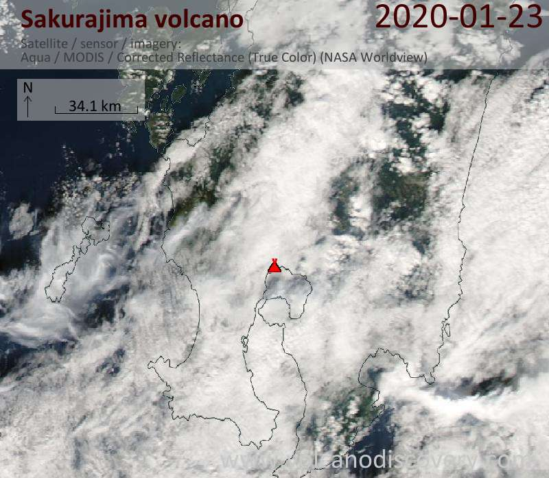 Satellite image of Sakurajima volcano on 23 Jan 2020