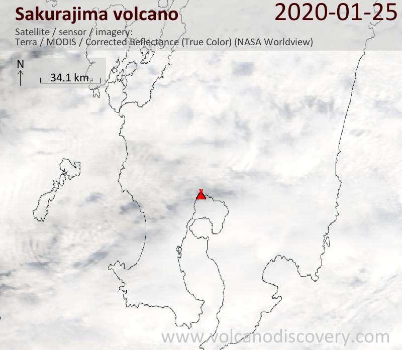 Спутниковое изображение вулкана Sakurajima 25 Jan 2020