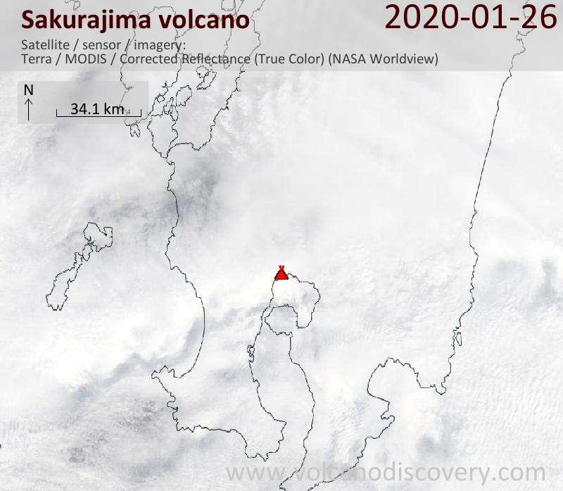 Спутниковое изображение вулкана Sakurajima 26 Jan 2020
