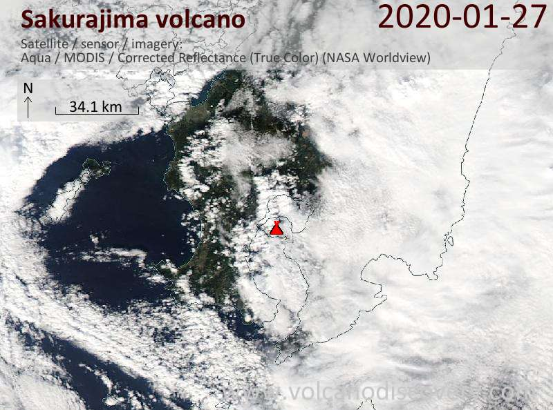 Спутниковое изображение вулкана Sakurajima 27 Jan 2020