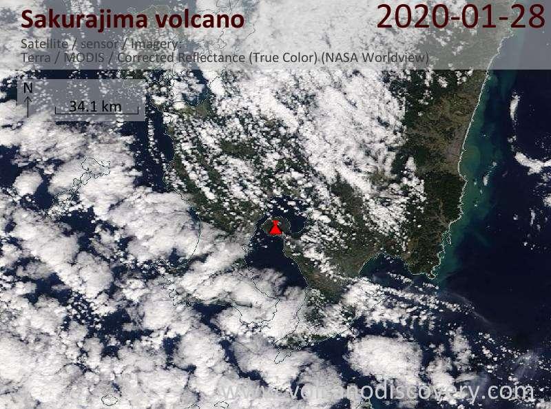 Спутниковое изображение вулкана Sakurajima 28 Jan 2020