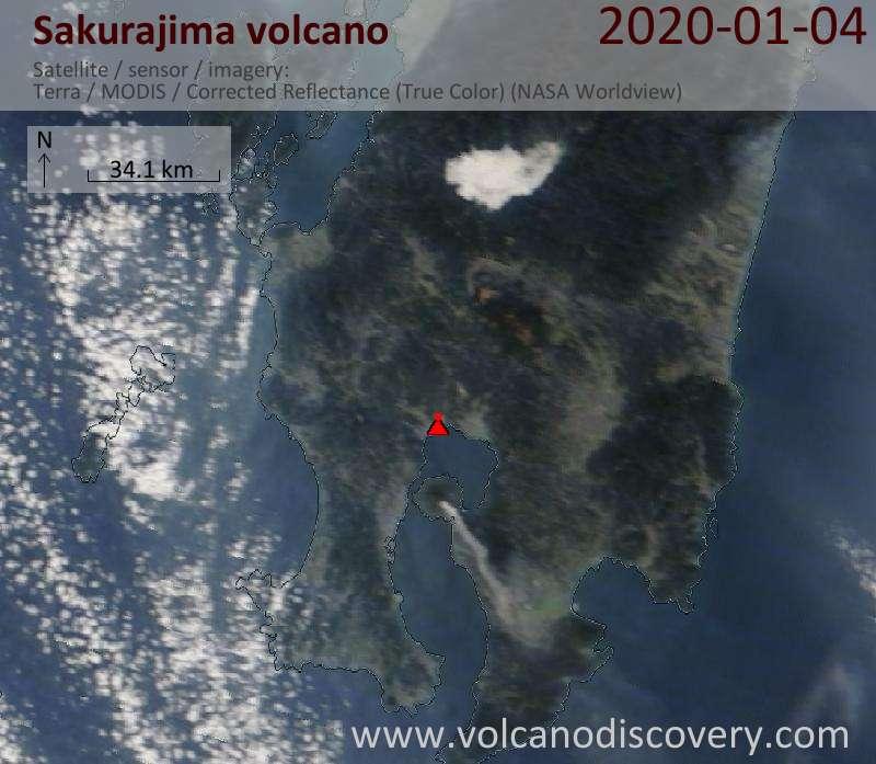 Satellite image of Sakurajima volcano on  4 Jan 2020